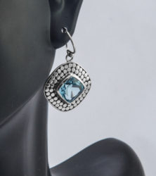 Janice Carson square silver earrings with blue topaz