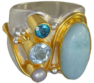 Natasha World Jewelry - Michou Jewelry - Cascade Tahoe Blue - Sterling Silver and 22K Gold Vermeil Ring