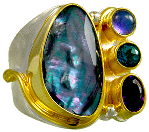 Natasha World Jewelry - Michou Jewelry - Iridescence - Sterling Silver and 22K Gold Vermeil Ring